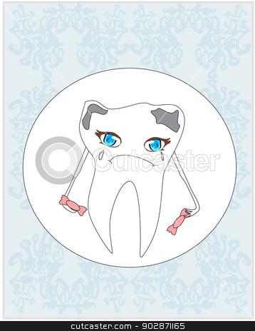Sad Tooth Cartoon Stock Vector