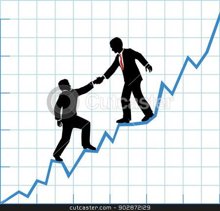 Business team help chart company growth stock vector clipart, Financial adviser or business mentor help team partner up to company profit growth by Michael Brown
