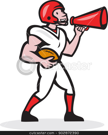 American Football Quarterback Bullhorn Isolated Cartoon stock vector clipart, Illustration of an american football gridiron quarterback player holding bullhorn blowhorn shouting facing side on isolated white background done in cartoon style. by patrimonio