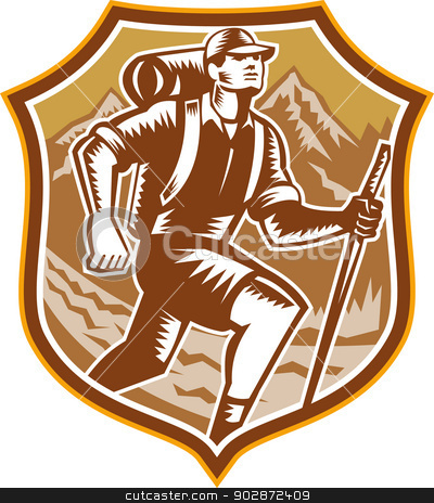 Hiker Hiking Mountain Shield Woodcut Retro stock vector clipart, Illustration of a male hiker hiking walking holding staff with river and mountains in background set inside shield crest done in retro woodcut style. by patrimonio