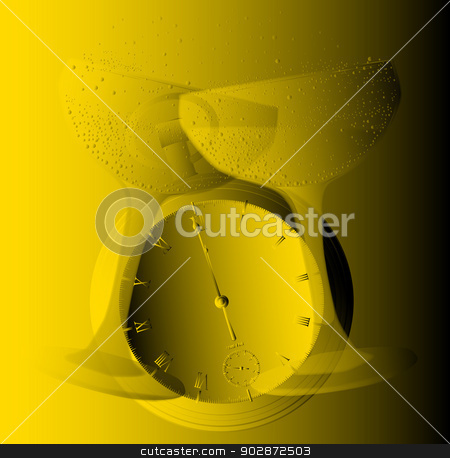 Golden Glasses stock vector clipart, New Year champagne glass clinking together and a watch showing midnight all in gold by Kotto