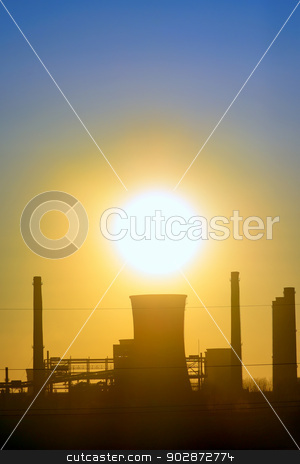 Industrial sunset stock photo, Industrial sunset shoot  in spring time by Iordache Magdalena
