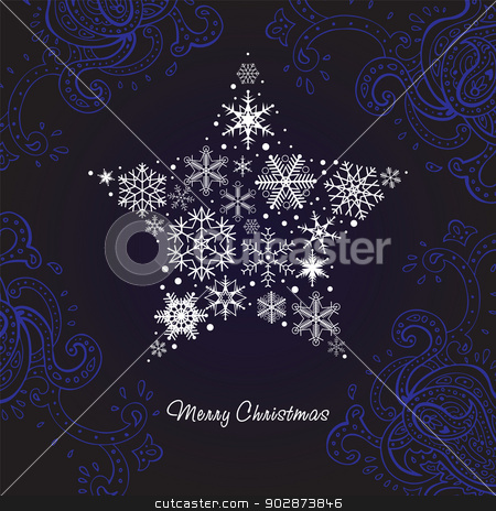 Christmas star of the Snowflakes. stock photo, Christmas star of the Snowflakes. Vector background. by Katyau