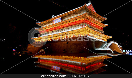 Night view of Drum Tower in Xian stock photo, The illuminated ancient Drum Tower located inside the ancient city wall at night time, Xian, Shaanxi Province, China  by John Young