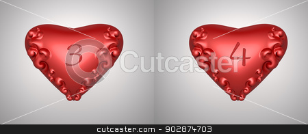 valentine numbers  stock photo, number 3 and 4 for valentine day background by apichart