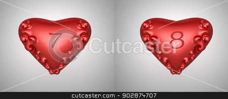 valentine numbers  stock photo, number 7 and 8 for valentine day background by apichart