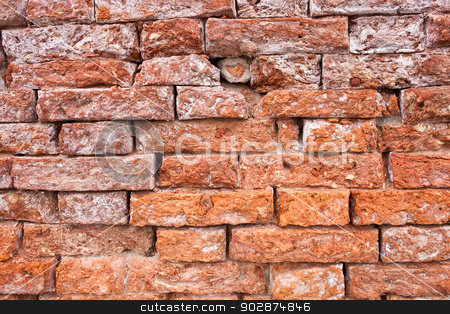 Brick wall stock photo, Beautiful old red brick wall texture background by Alexey Popov