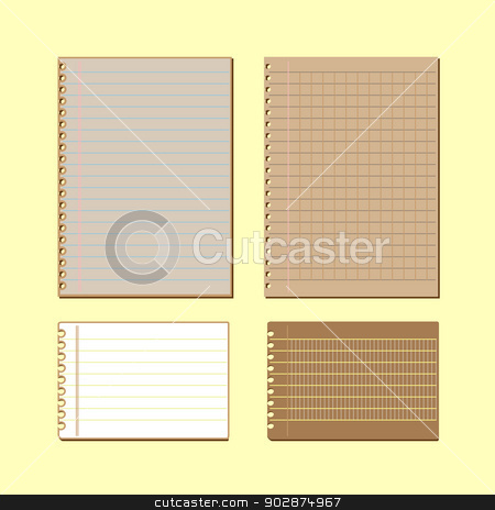 Vintage lined papers on yellow background stock photo, Vintage lined papers on yellow background, stock vector  by nalinratphi