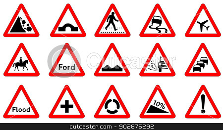 15 Triangle Traffic Signs Stock Vector