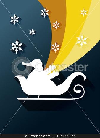 santa claus sleigh stock vector clipart, santa claus sleigh with colorful rainbow by pinnacleanimates