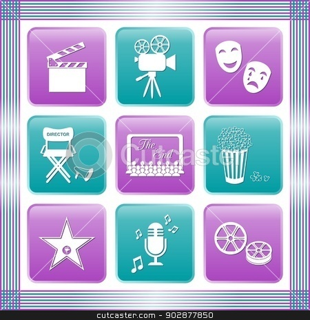Movie icons stock vector clipart, Set of white movie icons on colored buttons by blumer