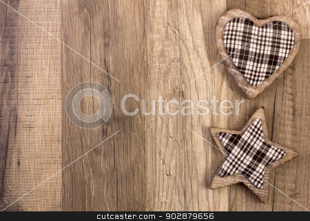 decoration with heart and star shape stock photo, decoration with wood background heart and moravian star by Tomjac1980