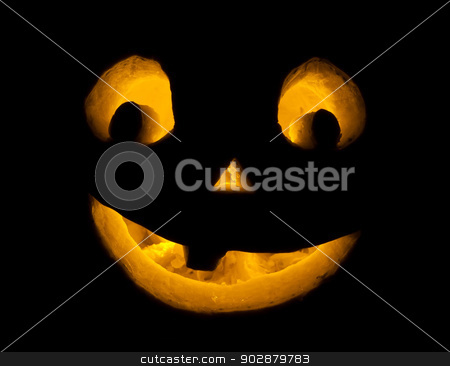Halloween pumpkin stock photo, Cute Jack O Lantern halloween pumpkin with candle light by Alexey Popov