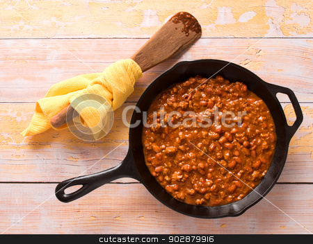 chili con carne stock photo, close up of a pan of american chili by zkruger