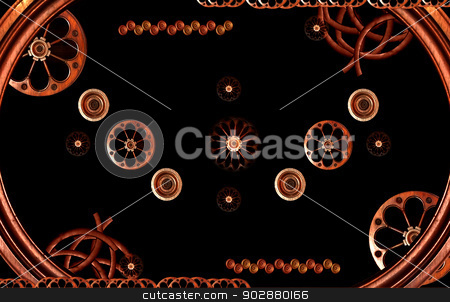 Retro Machine Concept Illustration stock photo, Industrial retro digital photo collage composition in brown tones and black background by Daniel