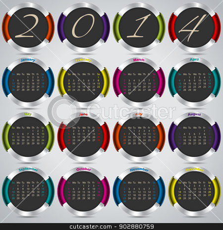 2014 background design with metallic badges  stock vector clipart, 2014 background design with cool metallic badges   by Mihaly Pal Fazakas