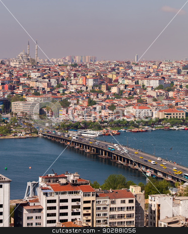 Ataturk Bridge Traffic in Istanbul stock photo, ISTANBUL, TURKEY – APRIL 28: The Ataturk Bridge over the Bosphorus on April 28, 2012 in Istanbul, Turkey prior to Anzac Day.  The Bosphorus divides Turkey between Europe and Asia.  by Scott Griessel