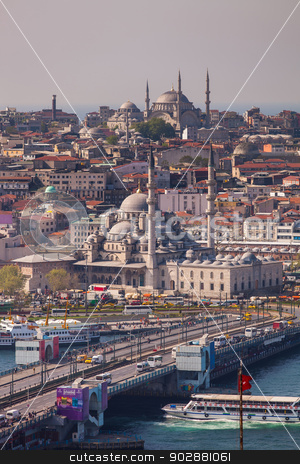 The New Mosque stock photo, ISTANBUL, TURKEY – APRIL 28: The New Mosque and neighborhoods along the Bosphorus on April 28, 2012 in Istanbul, Turkey prior to Anzac Day.  The Bosphorus divides Turkey between Europe and Asia.   by Scott Griessel