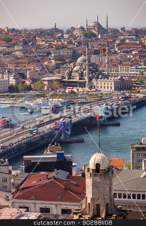 Galata Bridge in Istanbul stock photo, ISTANBUL, TURKEY – APRIL 28: The New Mosque and neighboroods along the Bosphorus on April 28, 2012 in Istanbul, Turkey prior to Anzac Day.  The Bosphorus divides Turkey between Europe and Asia.   by Scott Griessel