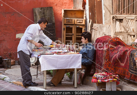 Istanbul Street Vendors stock photo, ISTANBUL, TURKEY – APRIL 28: Galata neighborhood street vendors on April 28, 2012 in Istanbul, Turkey prior to Anzac Day.   by Scott Griessel
