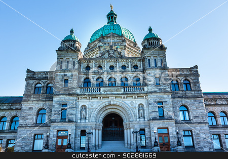 Provincial Capital Legislative Buildiing Victoria British Columb stock photo, Provincial Capital Legislative Parliament Buildiing Victoria British Columbia Canada.  Gold Statue top of dome is of George Vancouver. by William Perry