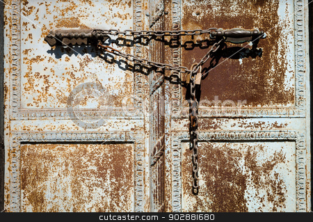 Old Chain on Istanbul Door stock photo, Chain on Door in Galata Neighborhood of Istanbul by Scott Griessel