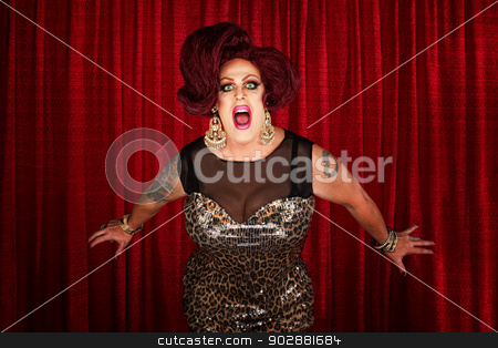 Drag Queen Screaming or Singing stock photo, Drag queen screaming or singing in theater by Scott Griessel