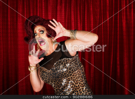 Frightened Man in Drag stock photo, Frightened man in drag queen in theater by Scott Griessel