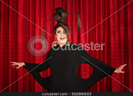 Drag Queen in Weird Dress stock photo, Smiling man in drag wearing unique dress and hairdo by Scott Griessel