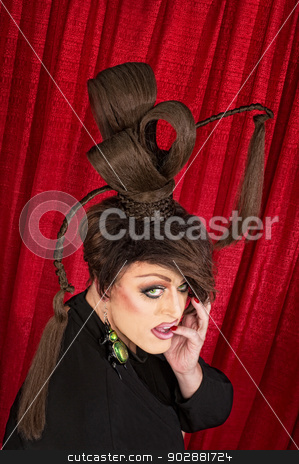 Cute Drag Queen stock photo, Cute drag queen with pinky in mouth by Scott Griessel
