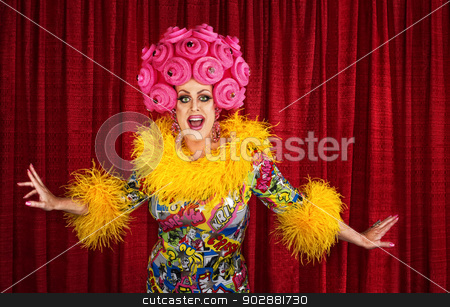 Drag Queen Performing stock photo, Big drag queen performing a song in theater by Scott Griessel
