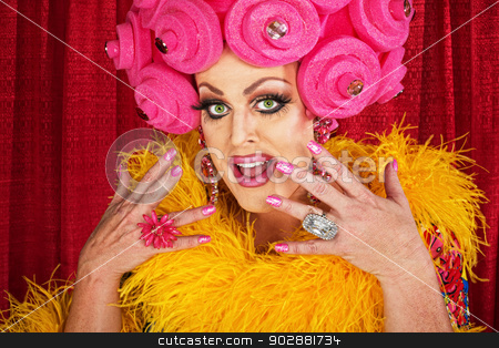 Excited Drag Queen stock photo, Excited white male drag queen in yellow boa by Scott Griessel