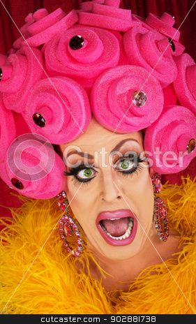 Drag Queen Yelling stock photo, Man in boa and pink foam wig yelling by Scott Griessel