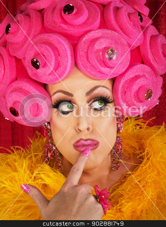 Wondering Drag Queen stock photo, Fancy drag queen with finger on lips by Scott Griessel