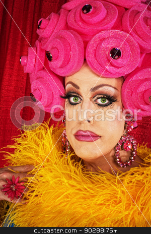 Man in Pink Foam Wig stock photo, Serious man in yellow boa and pink floral wig by Scott Griessel