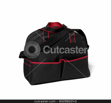 Black and red bag isolated stock photo, Black and red bag isolated on the white background by ABBPhoto