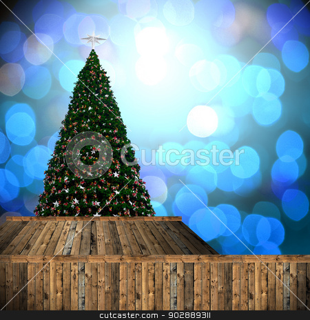 Christmas tree with bokeh background stock photo, Christmas tree with bokeh background by pixbox77