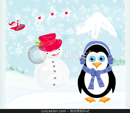 Christmas card with a penguin,santa claus and snowman  stock vector clipart, Christmas card with a penguin,santa claus and snowman  by Jacky Brown