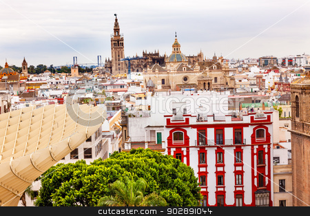 Giralda Bell Tower Cathedral of Saint Mary of the See Spire Chur stock photo, Giralda Spire Bell Tower Seville Cathedra, Cathedral of Saint Mary of the See Church of El Salvador Seville, Andalusia Spain.  City view from the Mushrooms.   by William Perry