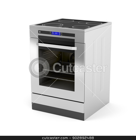 Electric cooker stock photo, Modern electric cooker on white background by Mile Atanasov
