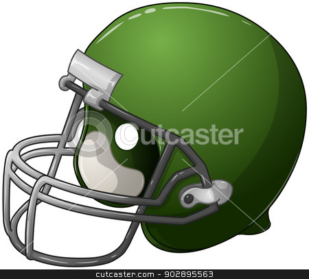 Green Football Helmet stock vector clipart, A vector illustration of a green football helmet. by Liron Peer