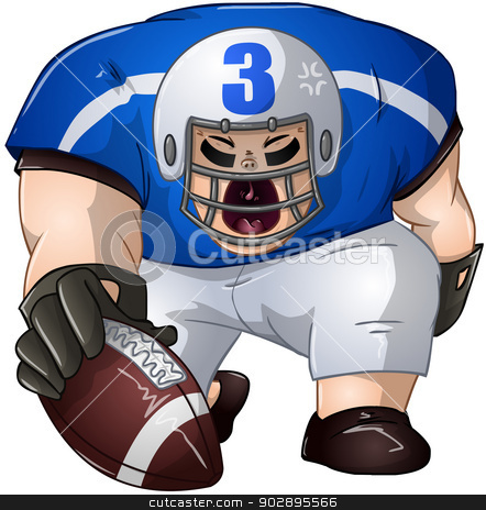 Blue White Football Player Kneels and Holds Ball stock vector clipart, A vector illustration of a football player in blue and white uniforms kneeling and holding a football.  by Liron Peer