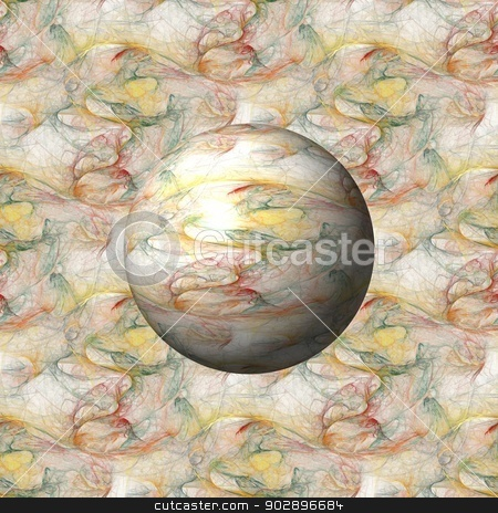 Fractal Gloabe stock photo, Multi color fractal building a globe with background. by Henrik Lehnerer