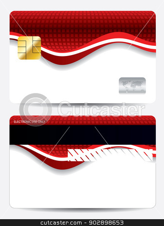 Abstract red wave credit card design  stock vector clipart, Abstract red wave and texture credit card design  by Mihaly Pal Fazakas