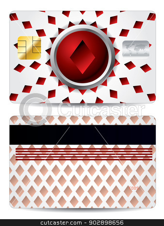 Poker diamond credit card design  stock vector clipart, Poker diamond credit card design in red and white by Mihaly Pal Fazakas