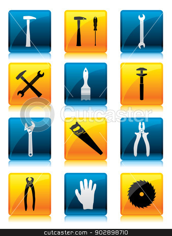 Tool button set  stock vector clipart, Shiny button set with tool icons for the web by Mihaly Pal Fazakas