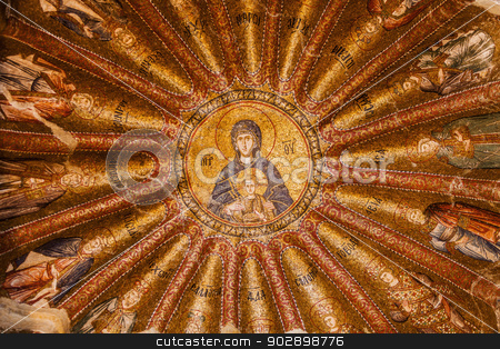 Jesus and Mary Mosaic in Chora Church stock photo, Jesus and Mary Mosaic at Chora Church by Scott Griessel