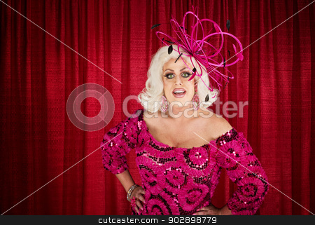 Eccentric Drag Queen with Hands on Hip stock photo, Blond drag queen with hands on hips by Scott Griessel