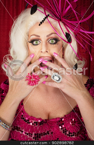 Surprised Cross-Dress Male stock photo, Surprised cross-dress performer with hands on mouth by Scott Griessel