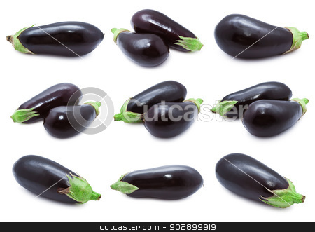 Aubergine stock photo, Collection of  aubergine or eggplants  isolated on white background by Alexey Popov